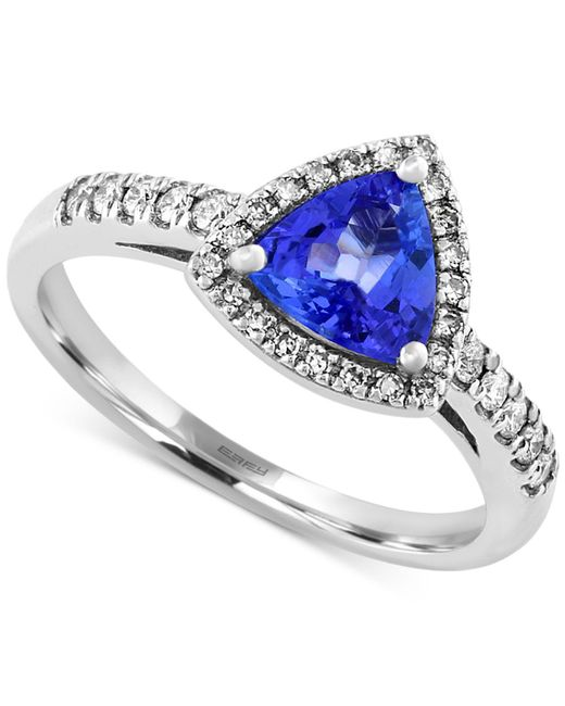 Effy Collection - Metallic Tanzanite (3/4 Ct. T.w.) And Diamond (1/5 Ct. T.w.) Trillion Ring In 14k White Gold - Lyst