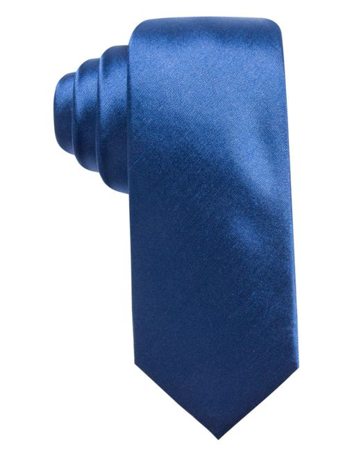 Alfani - Blue Solid Silk Slim Tie, Created For Macy's for Men - Lyst