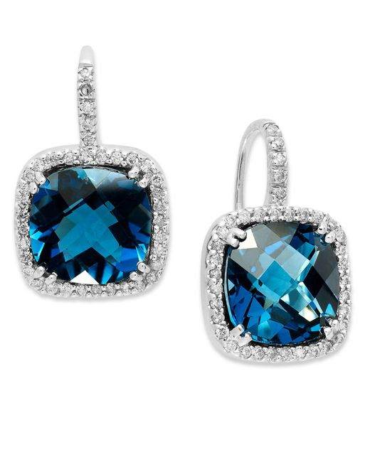 Macy's - 14k White Gold Earrings, London Blue Topaz (10 Ct. T.w.) And Diamond (1/3 Ct. T.w.) Leverback Earrings - Lyst