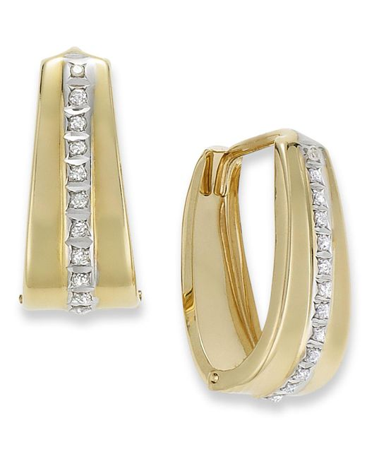 Macy's | Metallic 14k Gold Earrings, Diamond Accent Oval Hoop Earrings | Lyst