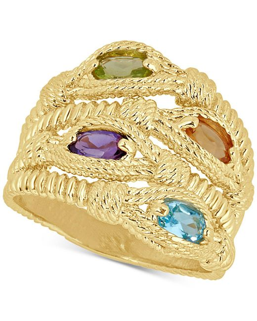 Macy's - Metallic Multi-gemstone Rope Statement Ring (1 Ct. T.w.) In 14k Gold-plated Sterling Silver - Lyst