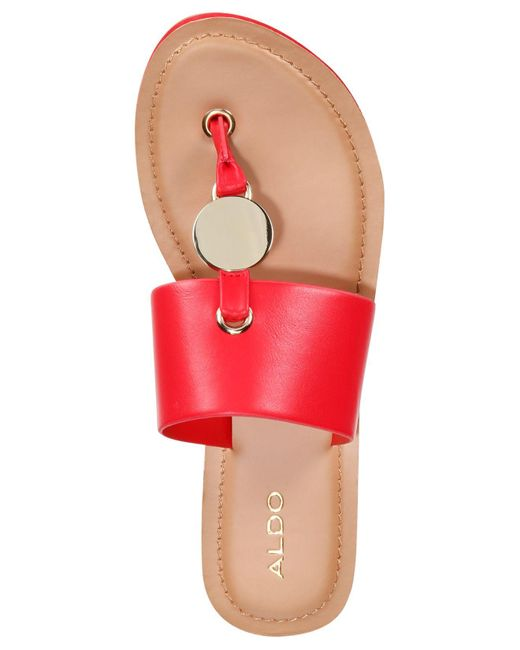 44d0615d2a6 ... ALDO - Red Yilania Coin Slide Sandals - Lyst ...