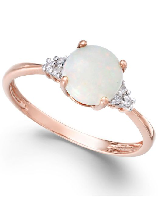 Macy's | Pink Opal (3/4 Ct. T.w.) And Diamond Accent Ring In 14k Rose Gold | Lyst