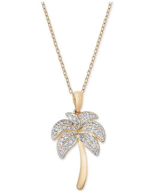 Macy's | Metallic Diamond Palm Tree Pendant Necklace In 18k Gold Over Sterling Silver And Sterling Silver (1/10 Ct. T.w.) | Lyst