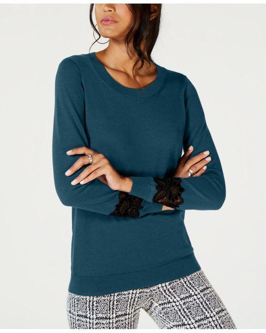 Michael Kors - Blue Michael Lace-inset Sweatshirt - Lyst