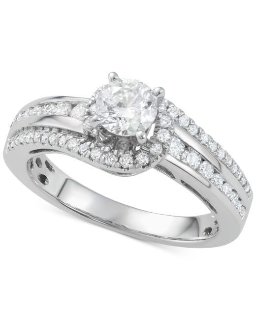 Macy's | Metallic Diamond Twist Engagement Ring (1-1/7 Ct. T.w.) In 14k White Gold | Lyst