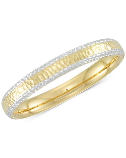 Signature Gold - Metallic Tm Two-tone Textured Bangle Bracelet In 14k Gold & White Gold Over Resin - Lyst