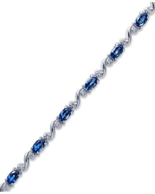 Macy's - Blue Sterling Silver Bracelet, Oval-cut Tanzanite (3 Ct. T.w.) And Diamond (1/8 Ct. T.w.) Bracelet - Lyst