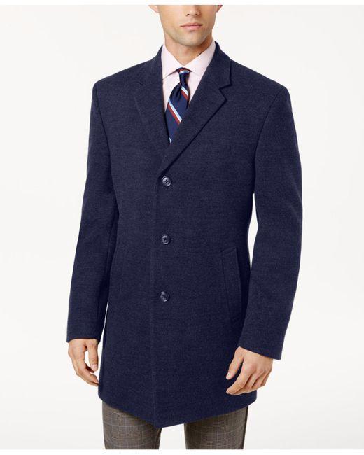 Tommy Hilfiger - Blue Men's Slim-fit Beckham Overcoat for Men - Lyst