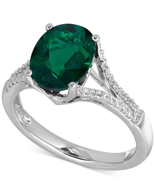 Macy's | Metallic Lab-created Emerald (2-1/2 Ct. T.w.) And White Sapphire (1/5 Ct. T.w.) Ring In Sterling Silver | Lyst