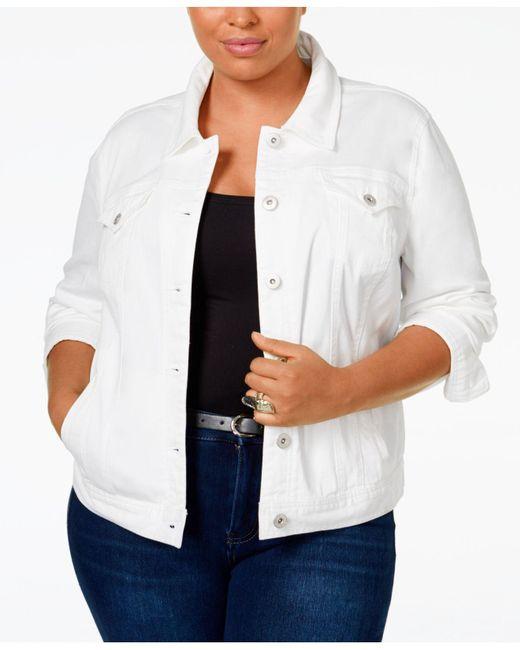 Style & Co. - White Plus Size Denim Jacket, Mosaic Wash - Lyst