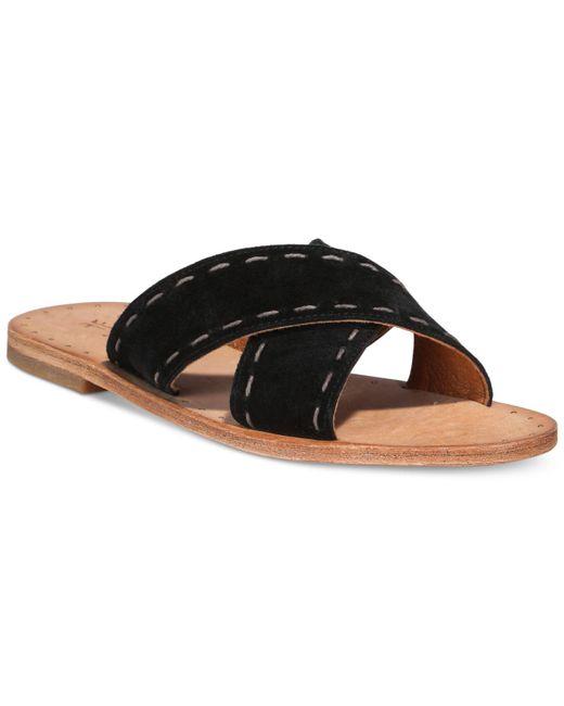 Frye | Black Women's Avery Pickstitch Slide Sandals | Lyst