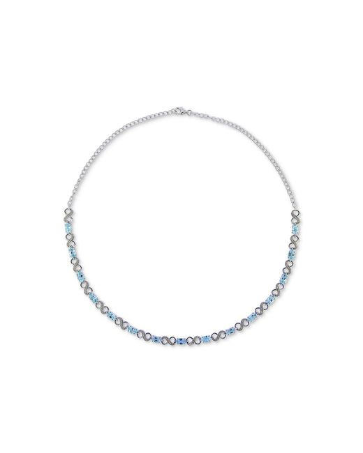 Macy's - Swiss Blue Topaz (9 Ct. T.w.) & Diamond Accent Collar Necklace In Sterling Silver - Lyst