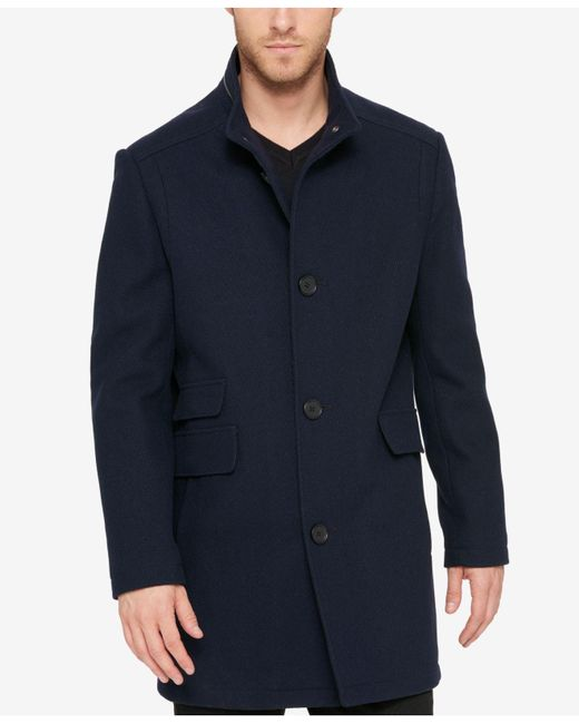 Kenneth Cole | Blue Men's Textured Car Coat for Men | Lyst