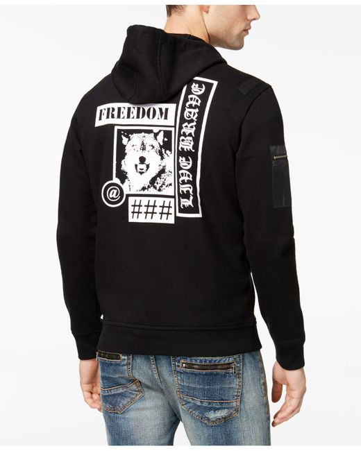 INC International Concepts - Black Men's Graphic-print Full-zip French Terry Fleece Hoodie With Faux-leather Trim for Men - Lyst