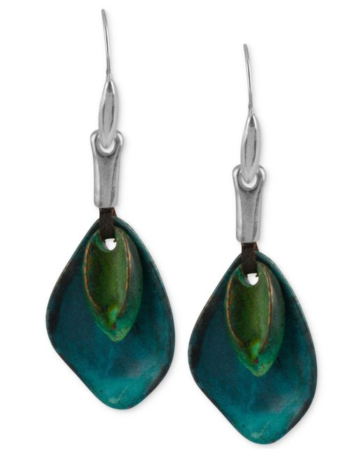 Robert Lee Morris - Blue Silver-tone Layered Sculptural Patina Drop Earrings - Lyst