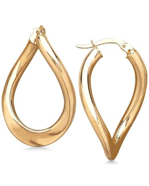 Macy's - Metallic Polished Curved Oval Hoop Earrings In 14k Gold - Lyst