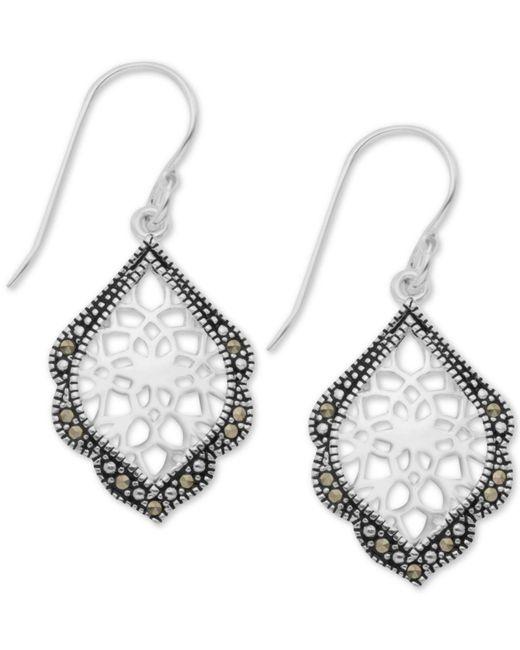 Macy's - Metallic Marcasite Filigree Drop Earrings In Fine Silver-plate - Lyst