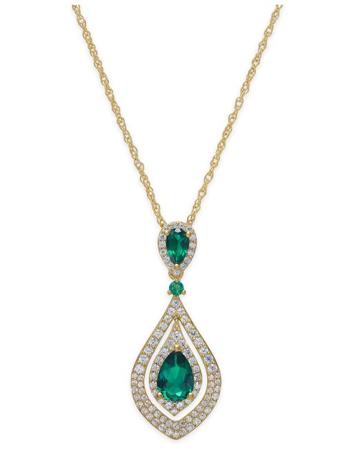 Macy's - Green Certified Ruby (1-1/4 Ct. T.w.) And Diamond (1/2 Ct. T.w.) Pendant Necklace In 14k Gold - Lyst