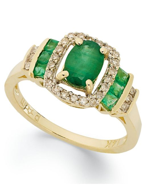 Macy's | Metallic 14k Gold Ring, Emerald (1 Ct. T.w.) And Diamond (1/5 Ct. T.w) Rectangle Ring | Lyst