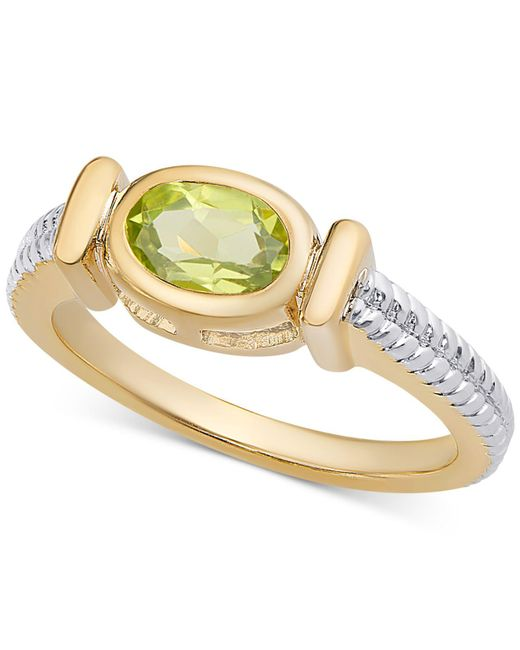 Macy's - Green Sapphire Two-tone Ring (9/10 Ct. T.w.) In 14k Gold-plated Sterling Silver - Lyst