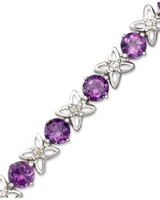 Macy's - Purple Sterling Silver Bracelet, Amethyst (6-1/4 Ct. T.w.) And Diamond Accent - Lyst