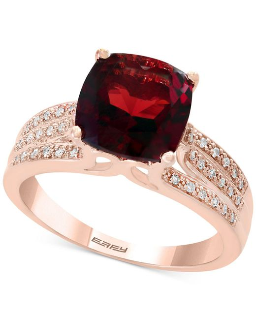 Effy Collection - Metallic Rhodalite Garnet (3-1/4 Ct. T.w.) And Diamond (1/5 Ct. T.w.) Ring In 14k Rose Gold - Lyst