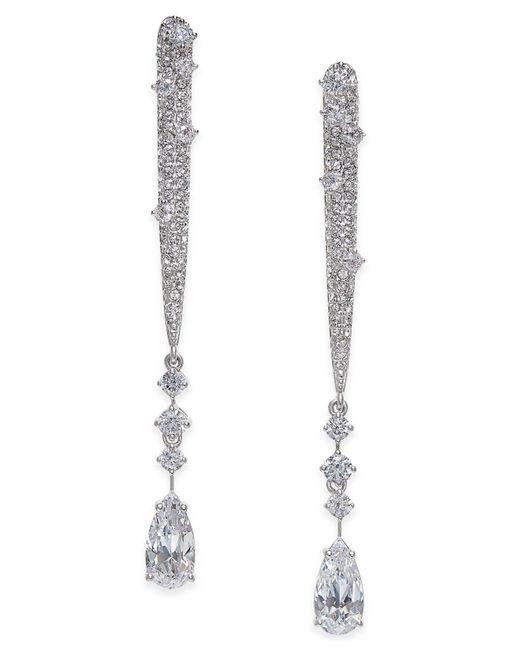 Danori | Metallic Silver-tone Cubic Zirconia Linear Drop Earrings | Lyst