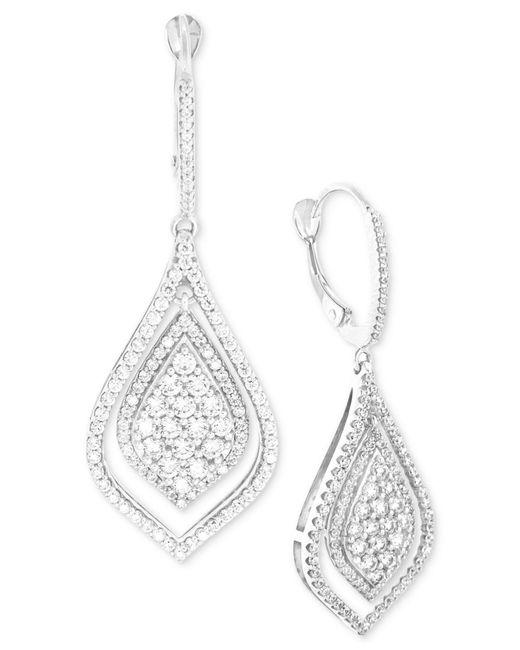 Wrapped in Love   Diamond Teardrop-style Drop Earrings (1-1/2 Ct. T.w.) In 14k White Gold   Lyst