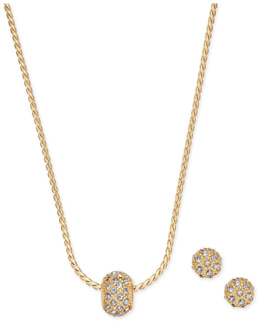 Charter Club - Metallic Gold-tone Pavé Ball Pendant Necklace And Stud Earrings Set - Lyst