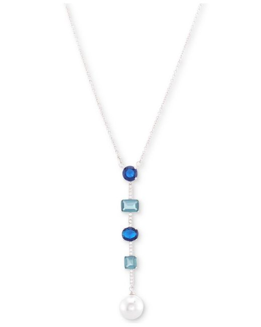 """Nina - Metallic Silver-tone Cubic Zirconia And Stone Bar & Disc Lariat Necklace, 17"""" + 3"""" Extender - Lyst"""