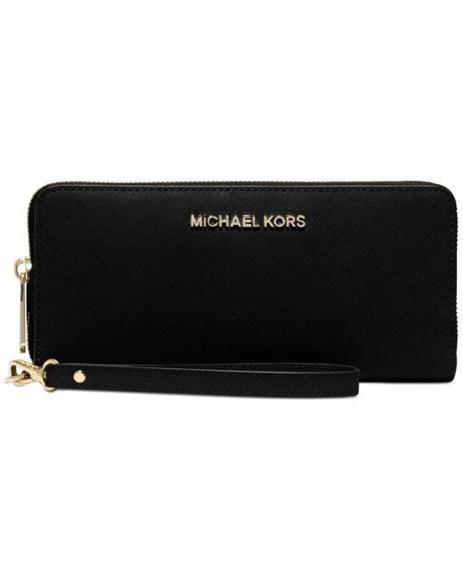 Michael Kors | Black Jet Set Travel Continental Wallet | Lyst