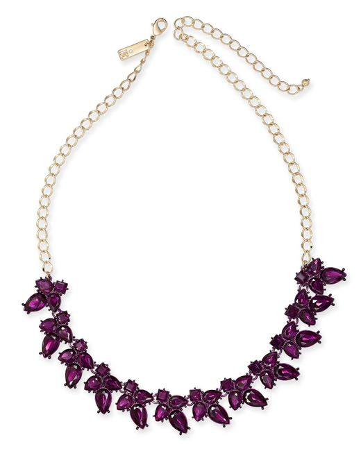"INC International Concepts - Purple I.n.c. Gold-tone Crystal Flower Necklace, 18"" + 3"" Extender, Created For Macy's - Lyst"