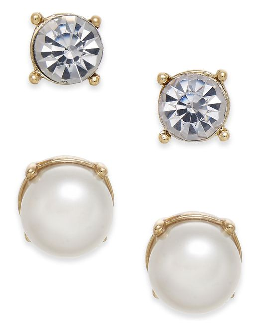 Charter Club Metallic Gold-tone Colored Imitation Pearl 2-pc. Set Stud Earrings, Created For Macy's