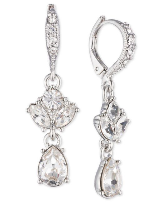 Givenchy - Metallic Crystal Double Drop Earrings - Lyst