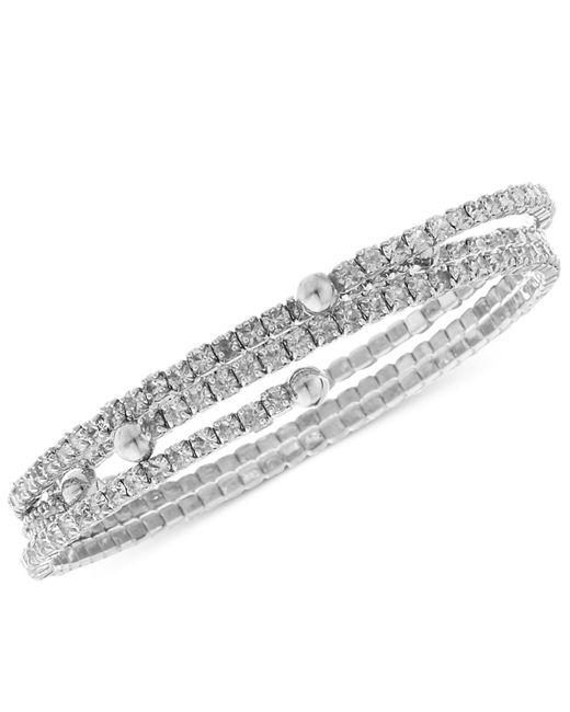 Nine West - Metallic Bracelet Set, Silver-tone Crystal Coil Bracelets - Lyst