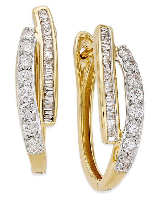 Macy's - Metallic Diamond Hoop Earrings (1 Ct. T.w.) In 10k Yellow Gold Or White Gold - Lyst