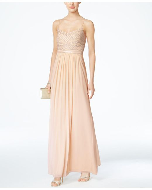 Lyst - Adrianna Papell Beaded Chiffon Gown in Natural