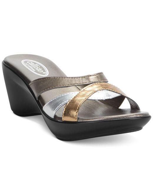 Callisto - Metallic Jet Sandals - Lyst