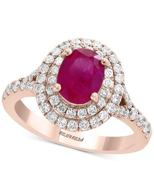 Effy Collection - Red Effy® Certified Ruby (1-3/8 Ct. T.w.) & Diamond (3/4 Ct. T.w.) Halo Ring In 14k Rose Gold - Lyst