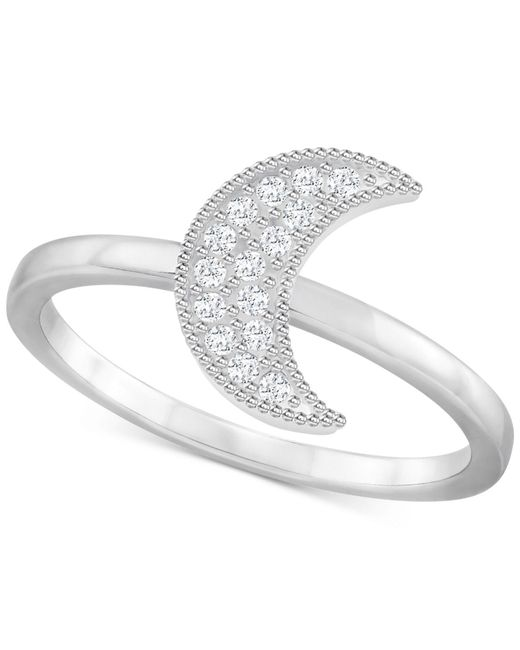 Swarovski - Metallic Silver-tone Pavé Moon Ring - Lyst