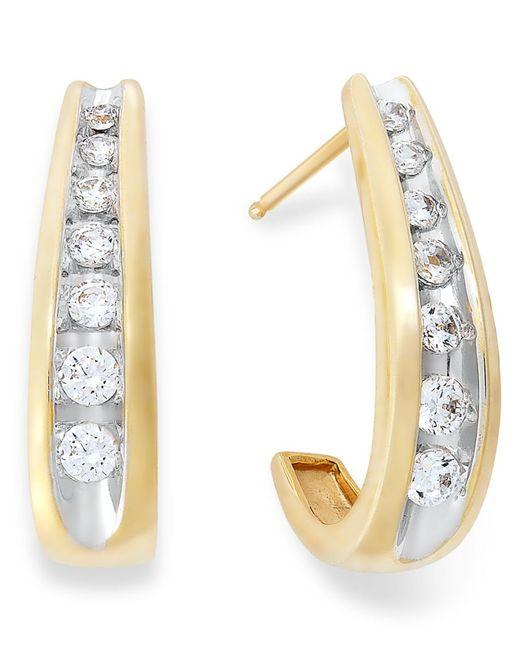 Macy's - Metallic Channel-set Diamond J Hoop Earrings In 14k Gold (1/2 Ct. T.w.) - Lyst