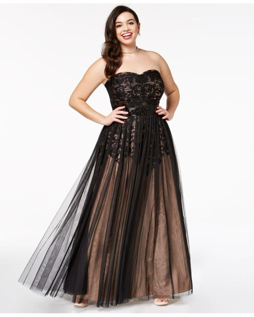 Lyst - City Chic Trendy Plus Size Strapless Tulle-overlay Ball Gown ...