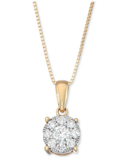 Macy's   Metallic Diamond Unity Pendant Necklace (1/3 Ct. T.w.) In 14k Gold, White Gold Or Rose Gold   Lyst