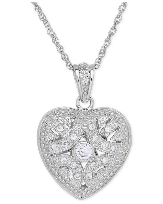 Macy's - Metallic Cubic Zirconia Heart Locket Pendant Necklace In Sterling Silver - Lyst