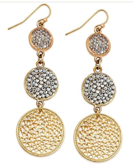 INC International Concepts | Metallic Gold-tone Pave Disc Linear Drop Earrings | Lyst