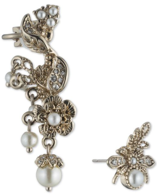 Marchesa - Metallic Gold-tone Imitation Pearl & Pavé Mismatch Ear Climber & Stud Earring - Lyst