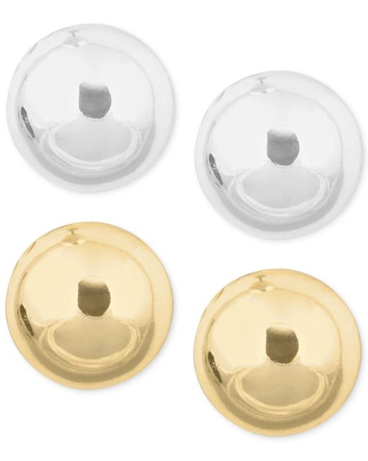 Nine West - Metallic Gold-tone And Silver-tone Stud Duo Earring Set - Lyst