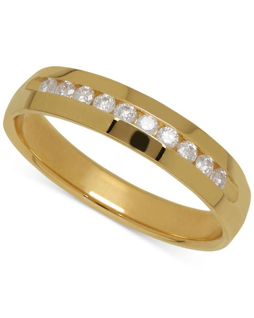 Macy's - Metallic Men's Diamond Band In 14k Yellow Gold (1/4 Ct. T.w.) for Men - Lyst