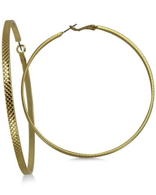 "Guess - Metallic Gold-tone 3"" Large Textured Hoop Earrings - Lyst"